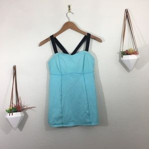 Lululemon light blue and black workout tank top